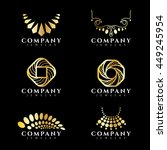 gold jewelry and necklace logo...   Shutterstock .eps vector #449245954