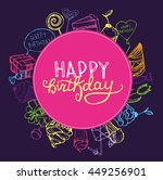 hand drawn happy birthday party ... | Shutterstock .eps vector #449256901