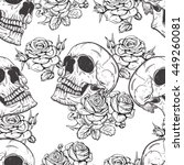 roses and skulls | Shutterstock .eps vector #449260081