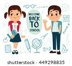 welcome back to school  vector... | Shutterstock .eps vector #449298835