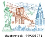 New York Sketch Vector Set. Th...