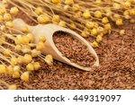 Linen Seeds In Wooden Spoon An...