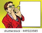 pop art business man screaming. ... | Shutterstock .eps vector #449323585