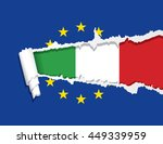 flag of italy under ripped flag ... | Shutterstock .eps vector #449339959