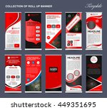 collection of red roll up... | Shutterstock .eps vector #449351695