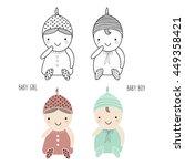 set of cute babies for design ... | Shutterstock .eps vector #449358421