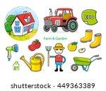 house  tractor  gumboots ... | Shutterstock .eps vector #449363389