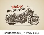 vintage motorcycle. hand drawn... | Shutterstock .eps vector #449371111