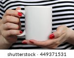 Girl Is Holding White Cup  Mug...