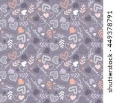 pattern with hearts and floral... | Shutterstock .eps vector #449378791