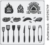 bbq set. steak icons  bbq tools ... | Shutterstock .eps vector #449390749