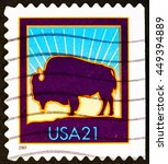 Small photo of Milan, Italy - August 02, 2015: American Buffalo on postage stamp