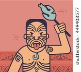 new zealand maori man doing... | Shutterstock .eps vector #449403577