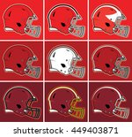 colored football helmets in red ... | Shutterstock .eps vector #449403871