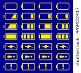 battery icons set  yellow...   Shutterstock .eps vector #449422417