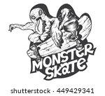 monster riding skate  t shirt...