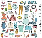 women clothes and accessories.... | Shutterstock .eps vector #449455705