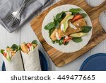 fish finger wraps with avocado...