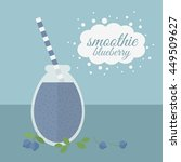 jar with blueberry smoothie and ... | Shutterstock . vector #449509627