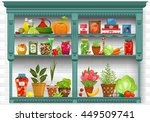 shelves with fresh produce and... | Shutterstock .eps vector #449509741