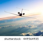private jet plane flying above... | Shutterstock . vector #449564935