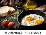 Fried Eggs In A Frying Pan Wit...