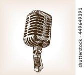 vintage microphone hand drawn... | Shutterstock .eps vector #449649391