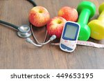 stethoscope with glucose meter... | Shutterstock . vector #449653195
