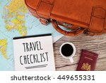 travel checklist suitcase world ... | Shutterstock . vector #449655331