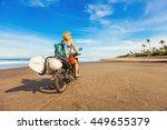 wonderful trip   woman riding a ... | Shutterstock . vector #449655379