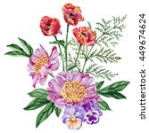 bouquet of purple peonies  red... | Shutterstock . vector #449674624