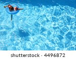 young girl swimming with arm... | Shutterstock . vector #4496872
