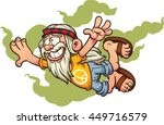 flying cartoon hippie. vector... | Shutterstock .eps vector #449716579