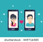 young man and woman in love on... | Shutterstock .eps vector #449716585