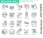 flat thin line icons set of e...
