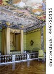 Small photo of MUNICH, GERMANY - 05 MAY 2016: Luxury interior of State Bedroom in the Electress Apartment in Schleissheim Schloss. The room is divided by balustrade into an anteroom and an alcove containing bed