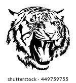 black and white ink draw tiger... | Shutterstock . vector #449759755