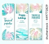 tropical palm leaves bright... | Shutterstock .eps vector #449772829
