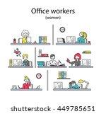 set of office workers. women.... | Shutterstock .eps vector #449785651