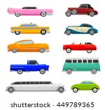 retro cars icons vintage vector | Shutterstock .eps vector #449789365