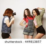 a girl takes picture of her... | Shutterstock . vector #449813857