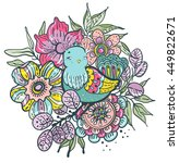 floral card with  bird ... | Shutterstock .eps vector #449822671