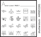 Airport Element Line Icon Set...