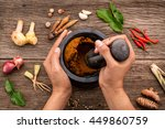 the women hold pestle with... | Shutterstock . vector #449860759