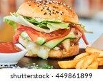 fast food dinner of burger ... | Shutterstock . vector #449861899