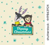 christmas card with hand drawn... | Shutterstock .eps vector #449863924