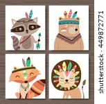 set of cartoon woodland animals.... | Shutterstock .eps vector #449872771