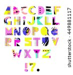 hand drawn alphabet. geometric... | Shutterstock .eps vector #449881117