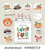 set of cartoon card and sticker ...   Shutterstock .eps vector #449885719