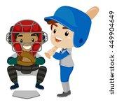 vector illustration of two kids ... | Shutterstock .eps vector #449904649